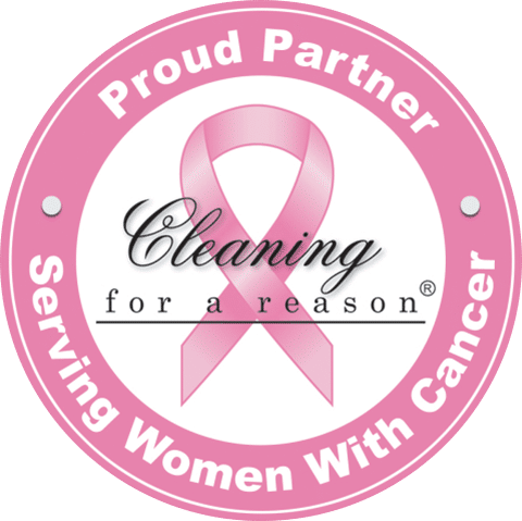 Breast Cancer Ribbon representing dedication to cleaning for a reason and serving women with cancer
