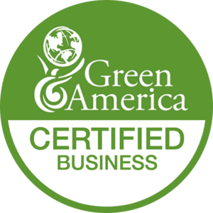 Green America Certified Business logo representing dedication to using earth-friendly products