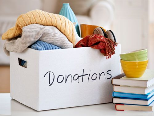 A box of donations goods