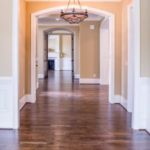 A foyer of a newly constructed house